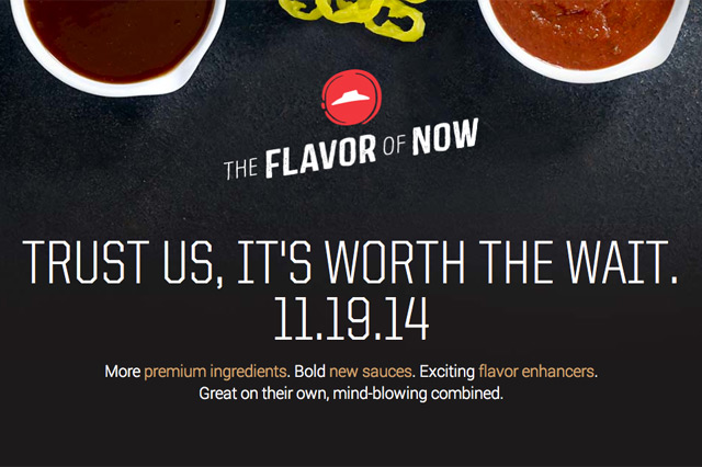 pizza hut the flavor of now labelling publicidad