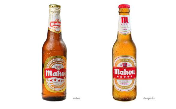 imagen comparación de botellas de mahou antes y despues del rediseño