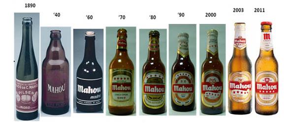 imagen de la historia del diseño de las botellas de mahou desde 1890 hasta 2011