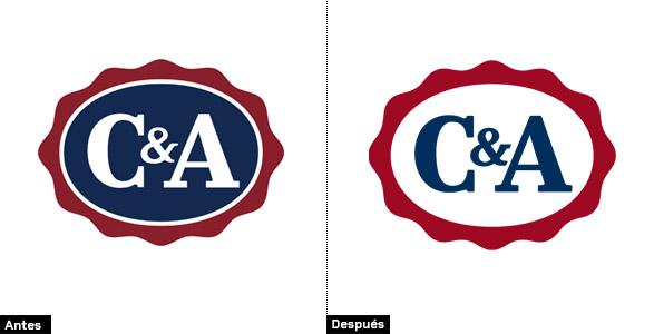 imagen de comparación logo c&a evolución del mismo al rediseñar