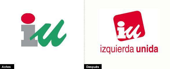 comparacion de la evolución del rediseño del logo de izquierda unida