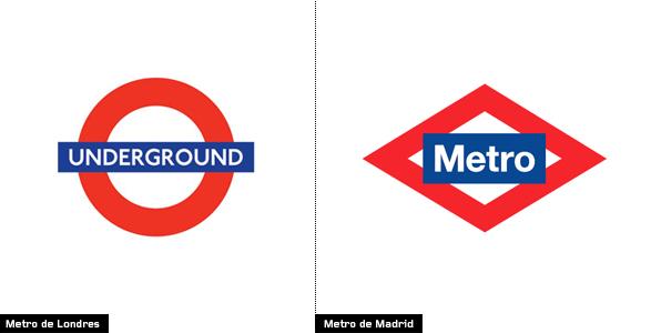 imagen comparación entre el logo del metro de Londres y el logo del metro de Madrid