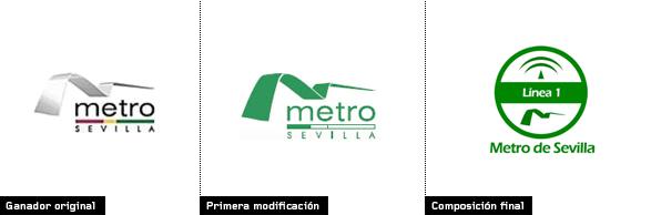 evolución del logo ganador del metro de Sevilla