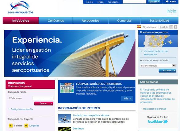 imagen del nuevo diseño de la web de aena aeropuertos