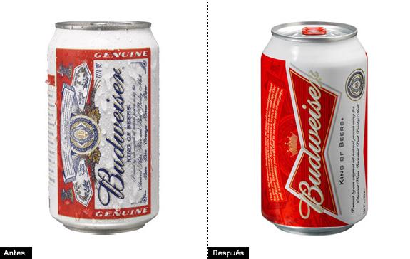 imagen de 2 latas de cerveza budweiser comparación antiguo logotipo y actual