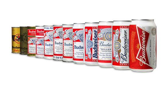 imagen de la historia de la evolución del logo de budweiser latas antiguas