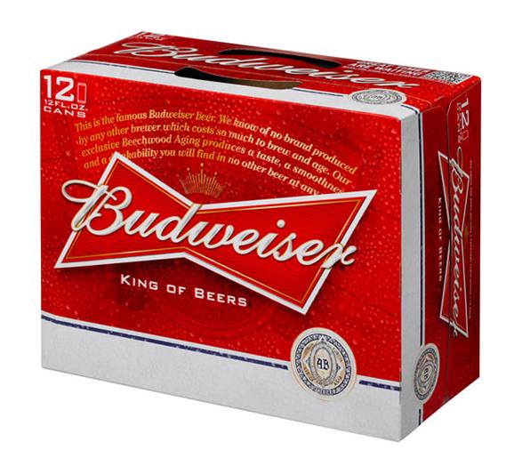 imagen de pack de cervezas Budweiser nuevo diseño en rojo y blanco con el eslogan King of beers