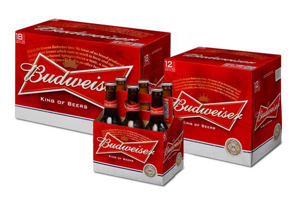 imagen de packaging o paquete de cervezas de Budweiser después del rediseño de marca con nueva imagen