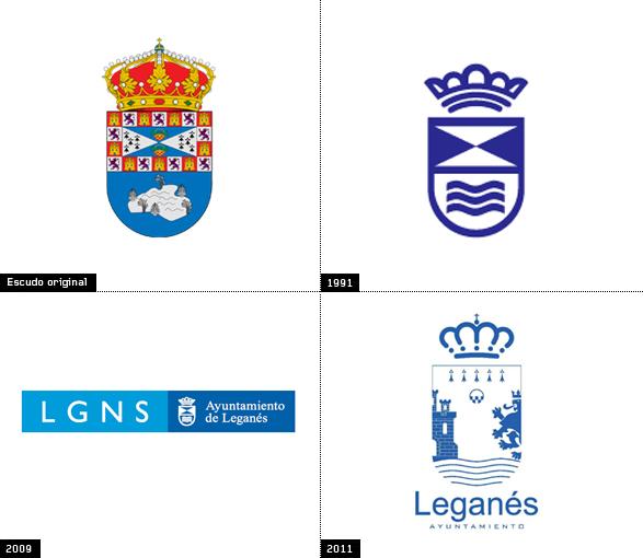 Evolución e historia del escudo de la localidad Madrileña de leganes años 1991 2009 y 2001