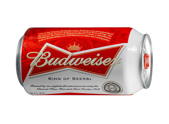 imagen de una lata de cerveza budweiser con nuevo diseño del logo