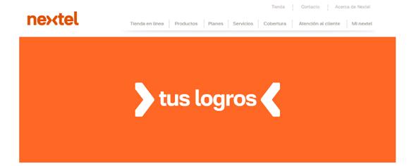 web de nextel diseño