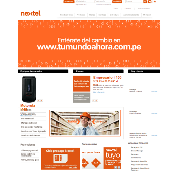 imagen de la web de nextel color y diseño de la marca