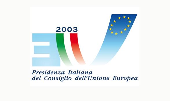 logo de la presidencia europea de Italia 2003