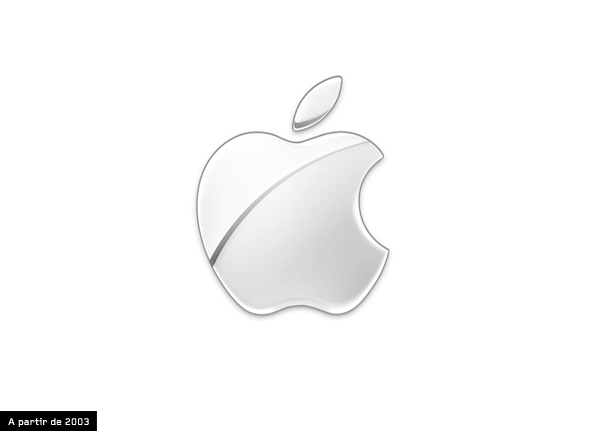 logo de apple desde 2003 color plata