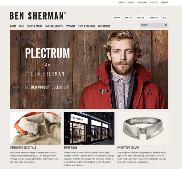 imagen del rediseño de la web de Ben Sherman