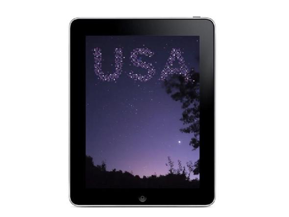 imagen de Tablet con el logotipo de la marca USA para fomentar el turismo en EEUU