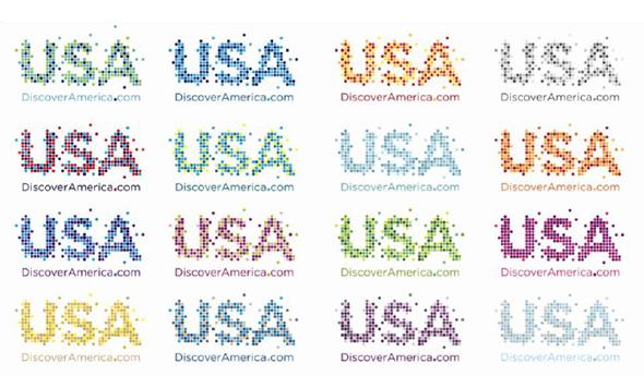 imagen del conjunto de versiones del logo para fomentar el turismo en EEUU