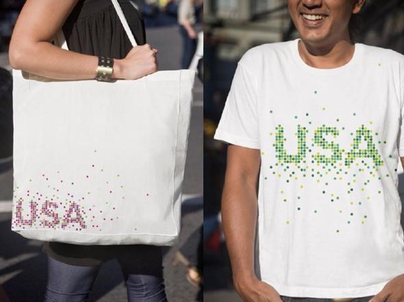 imagen de camiseta y bolso promoción marca USA fomento turismo en Norte America