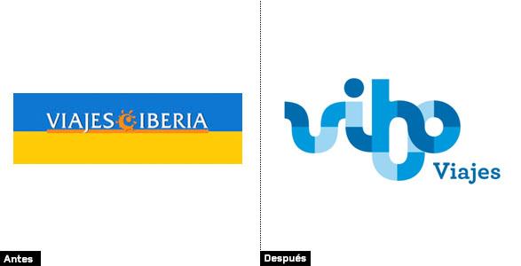 evolución e historia del logo de Viajes Iberia vs Vibo