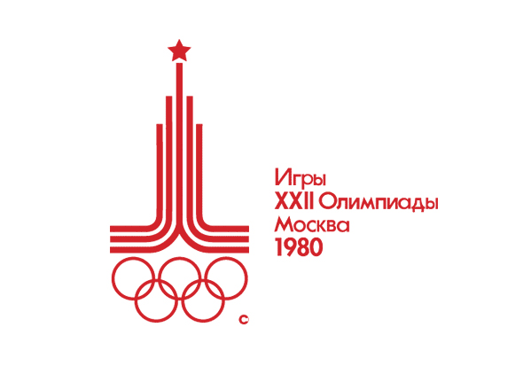 Logotipo de las olimpiadas Moscu 1980 letra roja simbolo de juegos