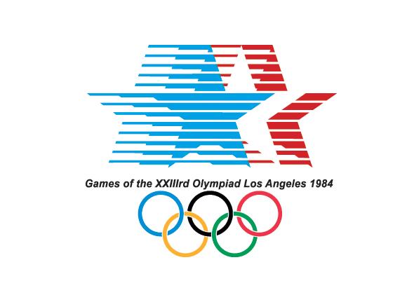 Logotipo de las olimpiadas Los Angeles 1984 aros con colores y estrellas refejan simbolo