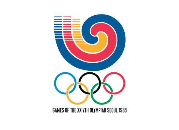 Logotipo de las olimpiadas Seoul 1988 colores en aros y simbolo de juegos olimpicos