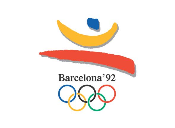 Logotipo de las olimpiadas Barcelona 1992 aros de colores y simbolo de España