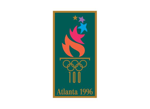 Logotipo de las olimpiadas Atlanta 1996 imagen de antorcha color dorado