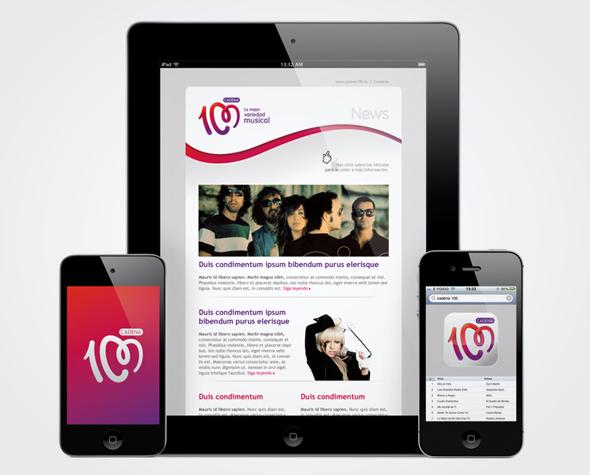 imagen del diseño de la web de cadena 100 y de la app de la emisora de radio
