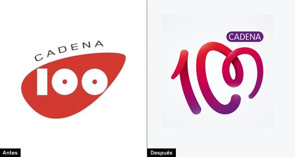 evolución y cambios del logo de cadena 100