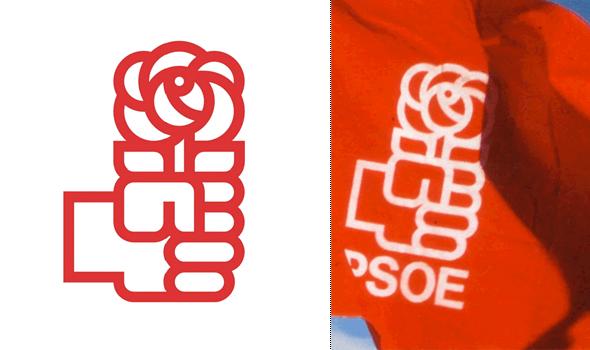 logo del PSOE - mano con rosa  diseñador por Pepe Cruz Novilla