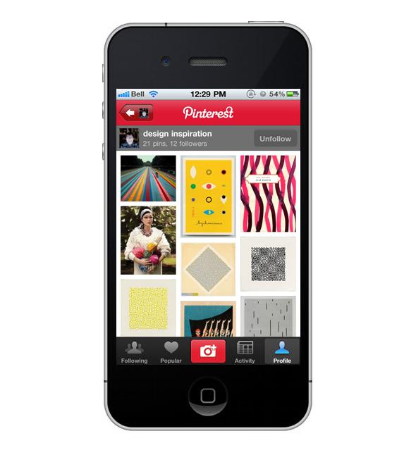 diseño de pinterest en smartphone