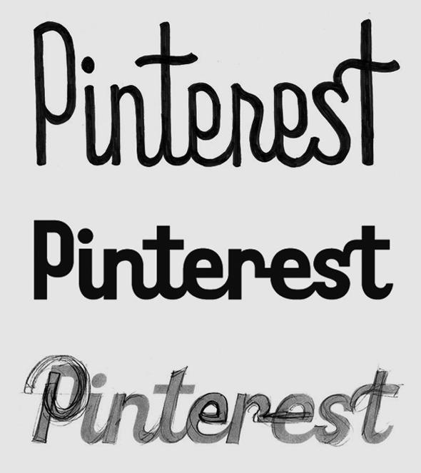 tipografía del logotipo de Pinterest esbozo del diseño