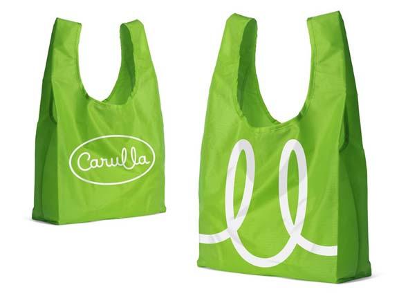 imagen de merchandise de Carulla bolsas verdes con el logo de Carulla