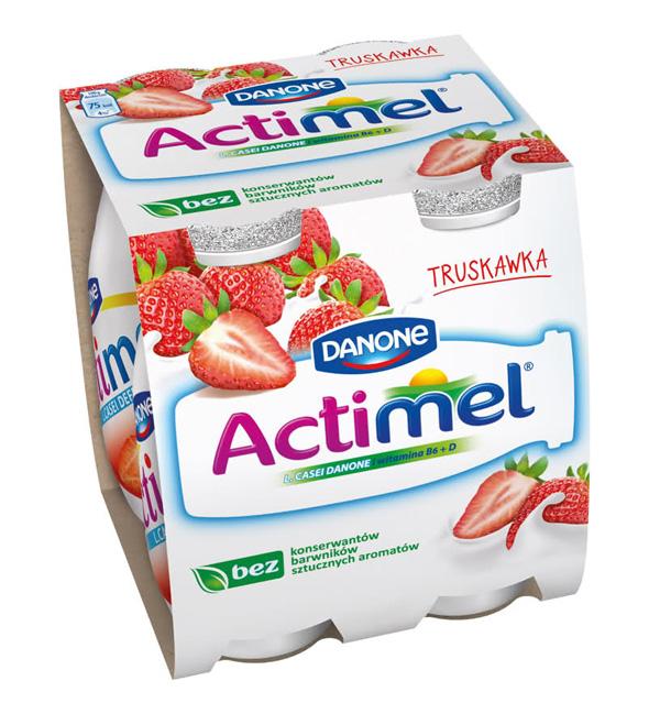 actimel logotipo imagen de un diseño del embalaje o packiging del producto de lacteos