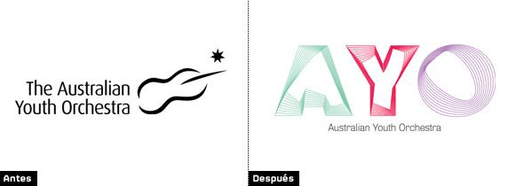 comparacion logo Australian Youth Orchestra antiguo y nuevo