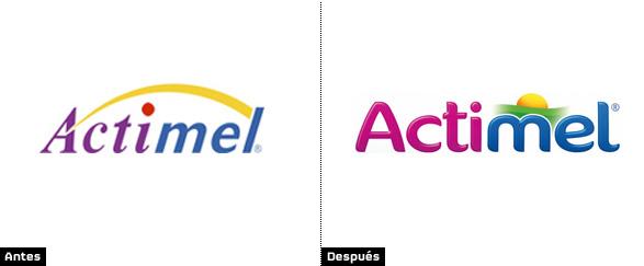 imagen del logotipo de actimel con el antiguo y el nuevo rediseño