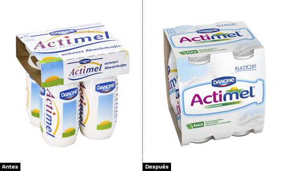 actimel imagen del rediseño del packaging o embalaje de la marca de lacteos