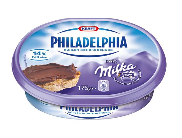 imagen de Co-branding entre pack de crema philadelphia y chocolate milka
