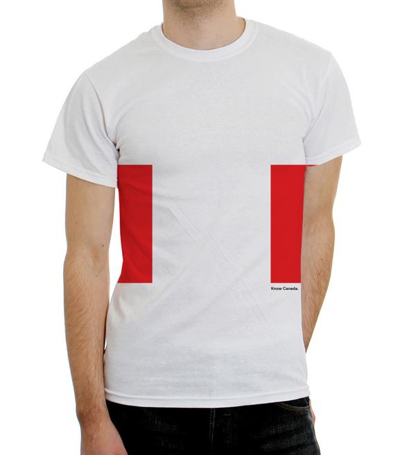 slogan Conozca Canada en una camiseta blanca, publicidad o merchandise