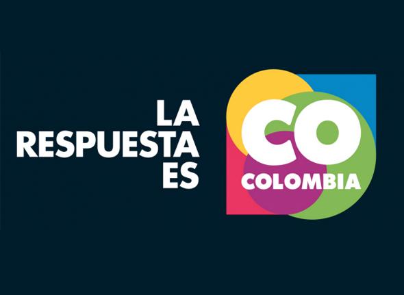 imagen del logo de colombia con el slogan la respuesta es Colombia