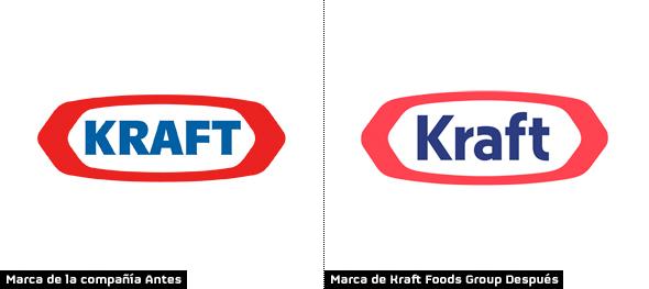 evolución logo kraft color rojo y blanco marca de alimentos