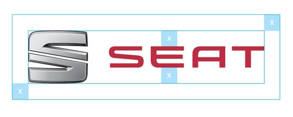 análisis gráfico del logo de seat proporciones y mediciones
