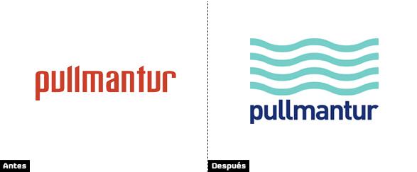pullmantur comparacion entre el logo con letras rojas y el nuevo logo azul