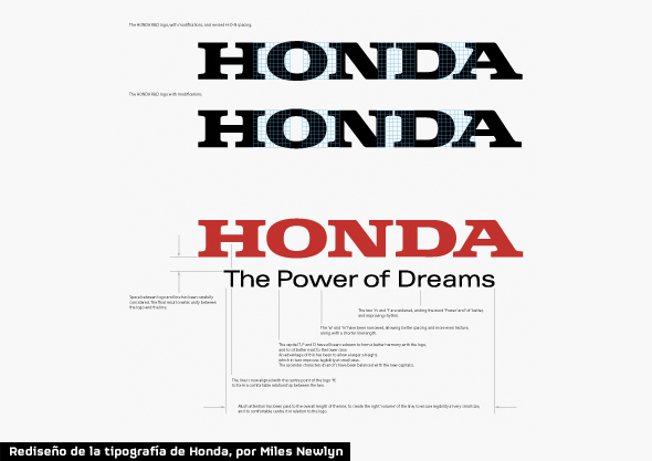 rediseño de logo honda the power of dreams por Miles Newlyn