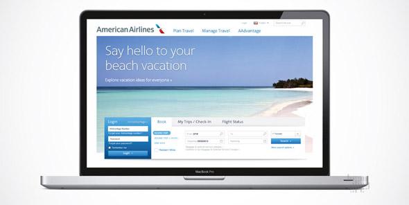 american airlines imagen de web en Ipad