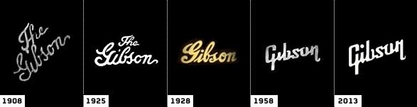 historia de la evolución del logo de gibson marca de guitarras