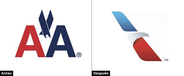 comparacion del logo de american airlines antiguo y nuevo tras rediseño