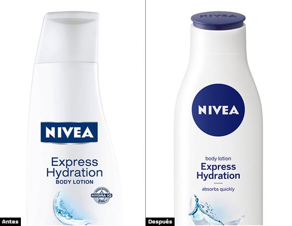 comparación logotipo nivea en bote de champú nuevo logo circular