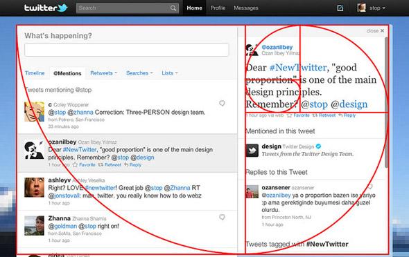 uso de sección aurea en el diseño de la web de Twitter